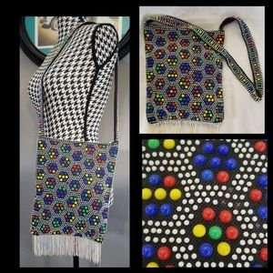 1960s Boho Candy Dot Beaded Bag